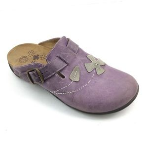 Dr. Weil Orthaheel Purple Clogs with Flowers